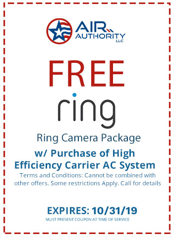 Get a free Ring Camera Package with a purchase of a high efficiency Carrier AC System. Call Air Authority LLC at (210) 290-8270.